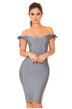 Solaine Slate Grey Off Shoulder Bandage Dress