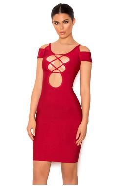 Vitella Lace Up Bardot Sleeve Bandage Mini Dress