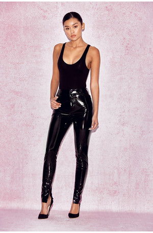 Haridan Black Patent Stretch Vinyl Trousers