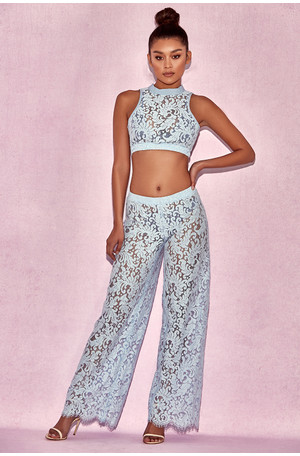 Thera Light Blue Lace Two Piece Cover Up
