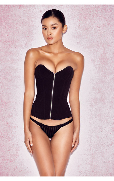 Artesia Black Satin Boned Corset