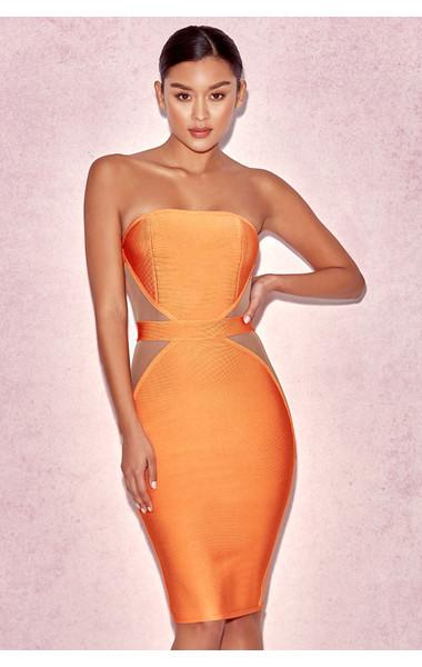 'Cascadia' Orange Strapless Bandage & Mesh Dress