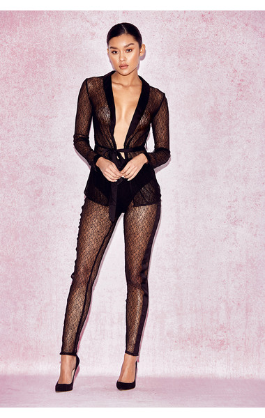 Divina Sheer Black Lace Tuxedo and Trousers Two Piece Set