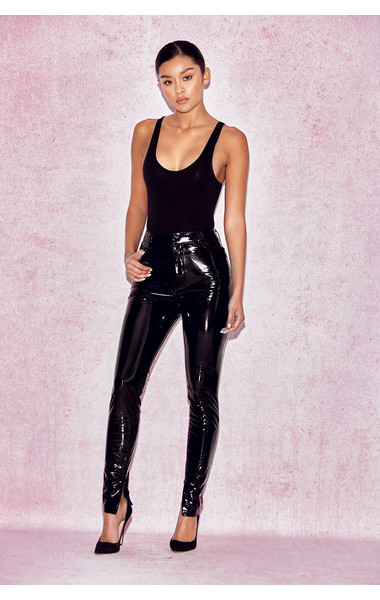 Haridan Black Patent Stretch Vinyl Trousers
