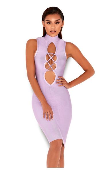 'Harun' Lilac Lace Up Bandage Dress