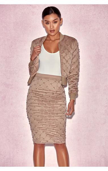 Amira Gold Pearl Encrusted Skirt