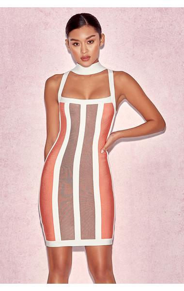 'Shah' Orange, Coffee & White Halter Bandage Dress