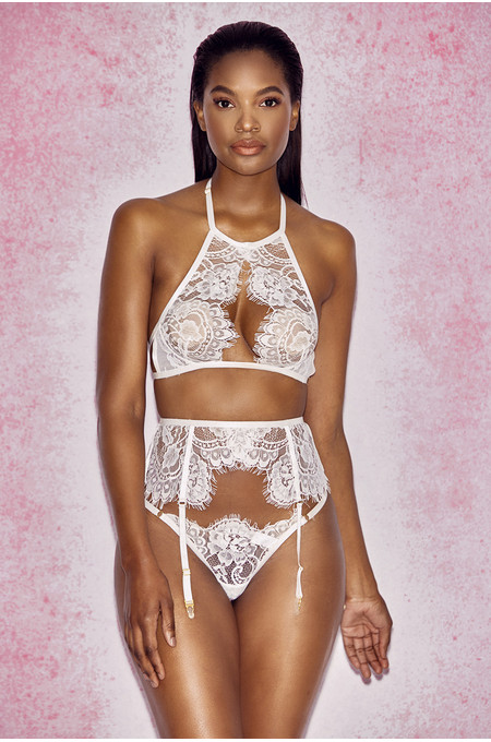Millicent White Lace Suspender