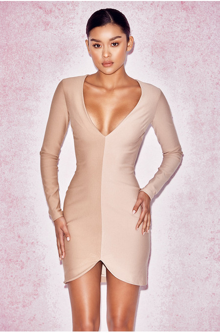 Anjele Nude Two Tone Dress