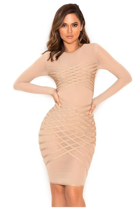 Elliana Taupe Bandage and Sheer Mesh Dress