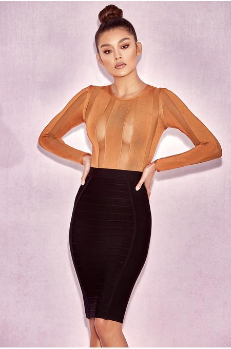 Eviee Amber Bandage & Mesh Bodysuit