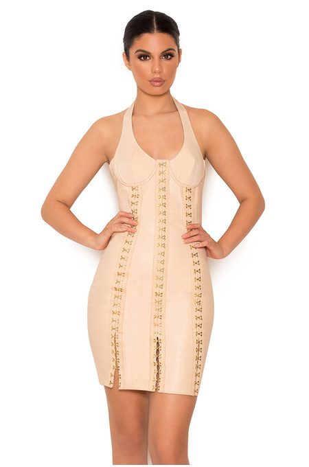 Leda Nude Vegan Leather Hook and Eye Dress