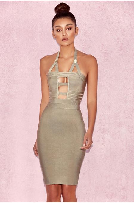 'Lyna' Light Olive Cutout Bandage Dress