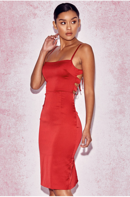 Mareena Red Satin Lace Back Dress