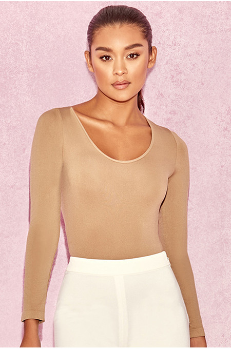 Rosella Tan Seamless Knit Scoop Neck Stretch Bodysuit