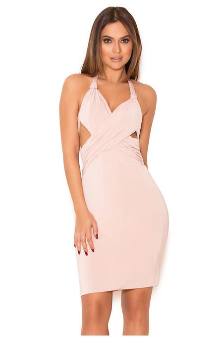 Sidra Blush Silky Jersey Draped Halter Dress