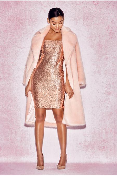 Zamora Pale Pink Oversized Faux Fur Coat