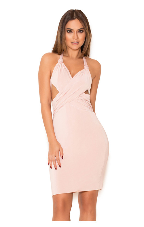 Sidra Blush Silky Jersey Draped Halter Dress