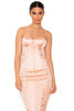 Artimedes Nude Satin Strapless Bustier Dress