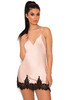 Felinda Dusty Pink & Black Satin & Lace Night Slip