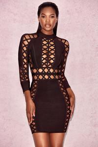 'Aziza' Brown Open Weave Bandage Dress