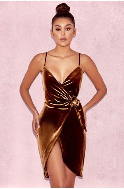 Grace Chocolate Velvet Wrap Dress