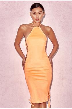 Zabana Orange Suedette Halter Lace Up Dress