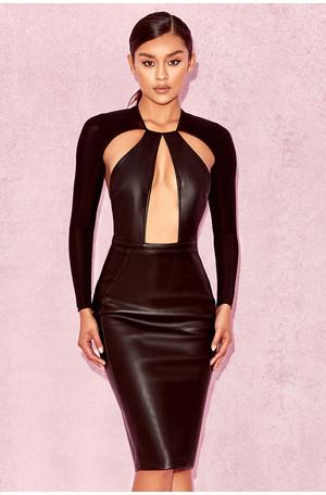 Kiasu Black Vegan Leather Cut Out Dress