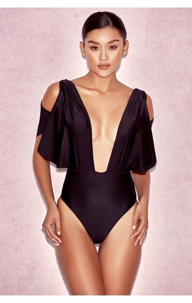CouCou Black Drape One Piece Swimsuit