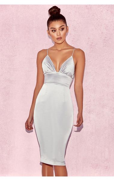 Ronel Grey Satin Pin Tuck Dress