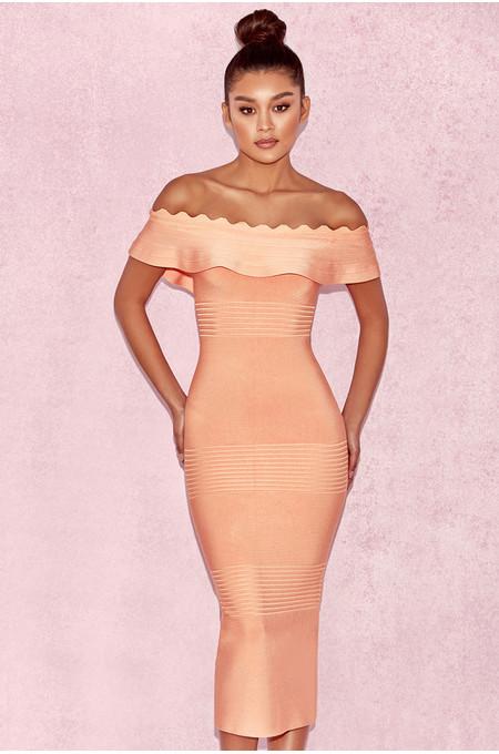 Amadea Light Orange Fluted Off Shoulder Dress