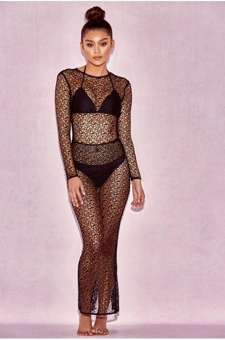 California Black Sheer Lace Maxi Cover Up