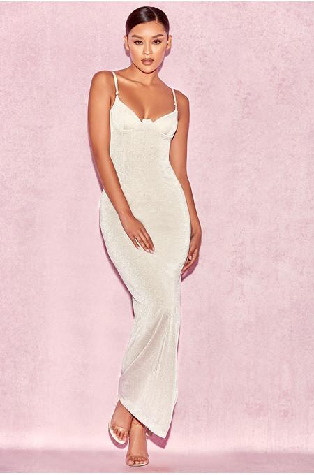 Carmina Silver Stretch Metallic Maxi Dress