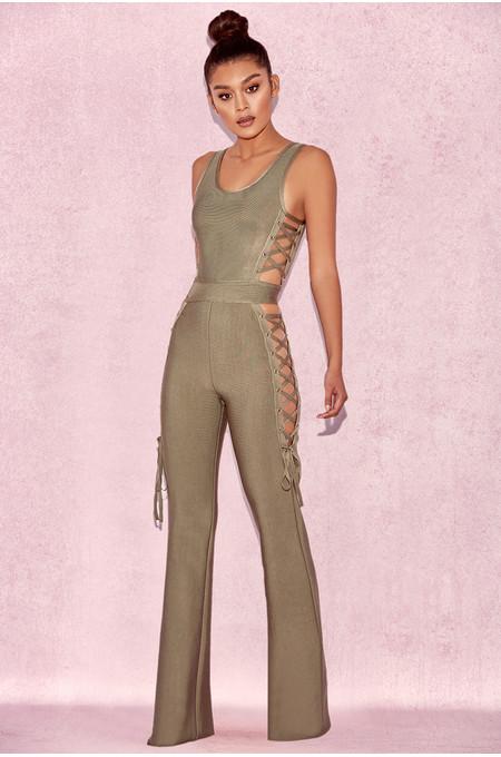 Greta Olive Bandage Jumpsuit with Tie Sides