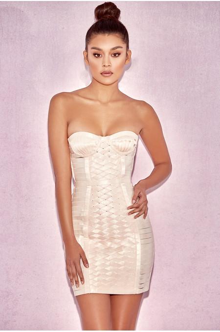 Malone Champagne Strap Elastic Bustier Dress