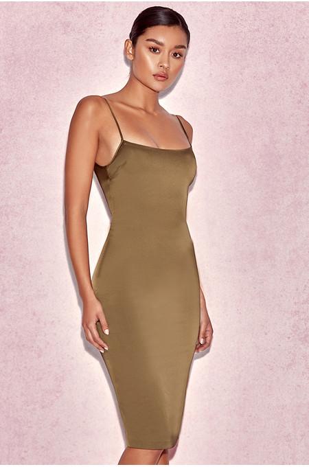 'Mischa' Khaki Fitted Satin Slip Dress