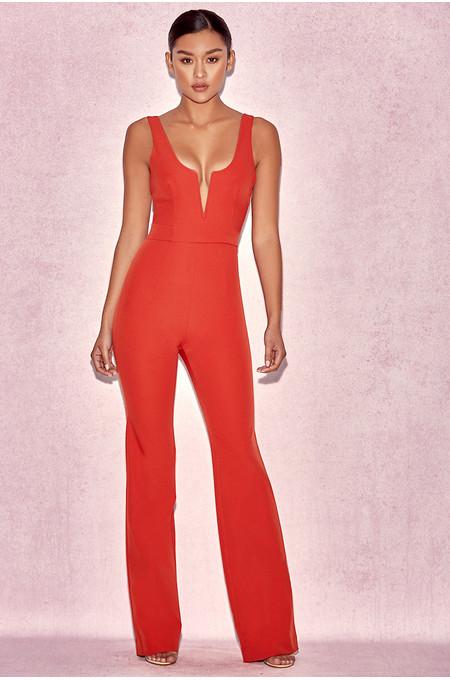 Natalja Red V Plunge Jumpsuit
