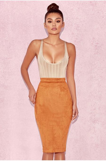 Giuditta Tan Suedette Pencil Skirt
