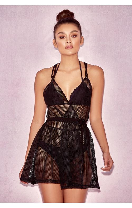 Tallia Black Sheer Mesh Mini Dress Cover Up