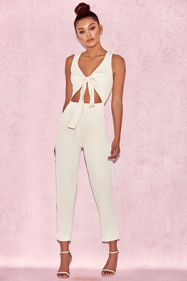 Goya Cream Crepe Knotted Front Jumpsuit