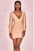 Calliah Peach Chain Sleeve Bandage Mini Dress