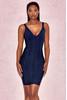 Izmira Dark Blue Denim Effect Bandage Dress