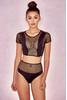 Marseilles Black Fishnet Mesh Two Piece Swimwear Set