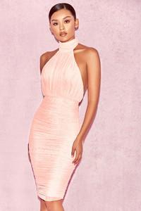 Merielle Pink Semi Sheer Mesh Backless Dress