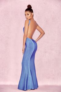 Ophelia Cornflower Blue Backless Maxi Bandage Dress