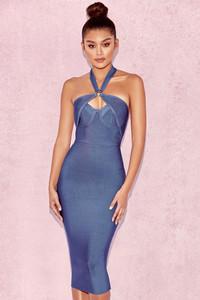 Saffi Blue Cut Out Bandage Dress