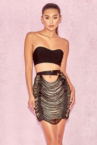 Tonino Black and Nude Tassel Skirt