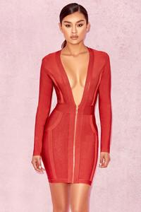 Valeria Burnt Orange Deep V Front Bandage Dress