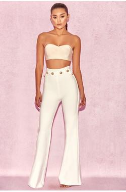Bardot White High Waist Bandage Trousers