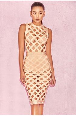 Felina Nude Pearl Bandage Cage Dress